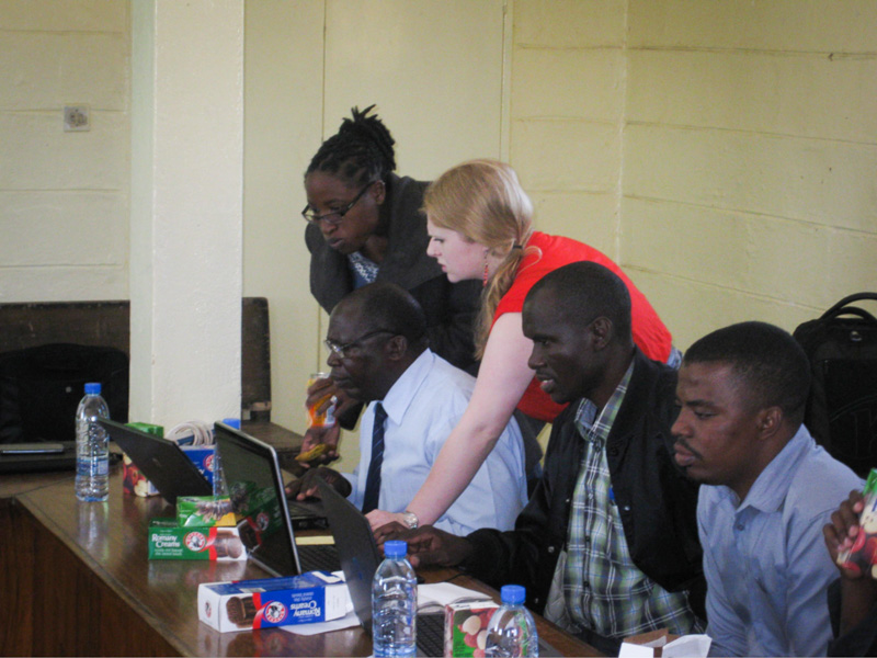 MSU student Kori Sandman participating in aDHIS2 training in the Zimba district office in Southern Province