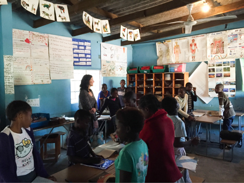 MSU professor Wendy Morrison meeting with Grade 5 students in the Chikumbuso School (photo courtesy of Tory Evans)